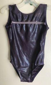 GK-Elite-purple-foil-tank-gymnastics-leotard-girl-size-CXS-Child-XS