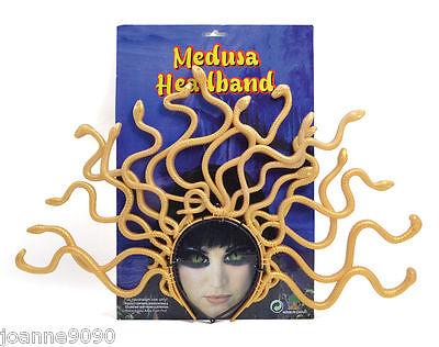 New Ladies Medusa Greek Goddess Fancy Dress Costume Gold Snake Headdress Headand
