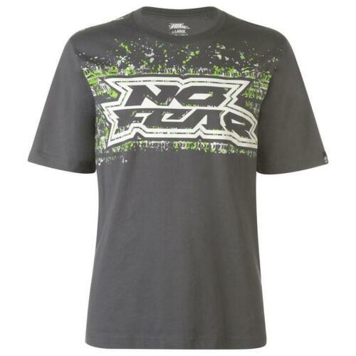 Herren Grau No Fear Reifen Profil Motocross Dirt Bike Kurzärmlig T-Shirt T-Shirt