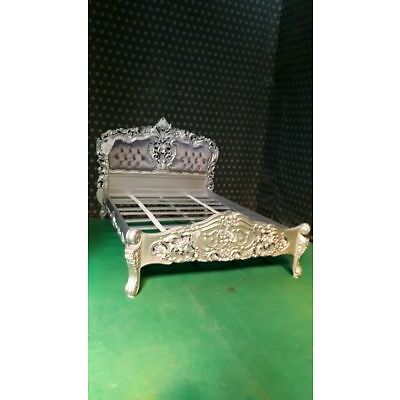 UK STOCK 5' UK King size Silver velvet French Rococo Bed carved mahogany wood