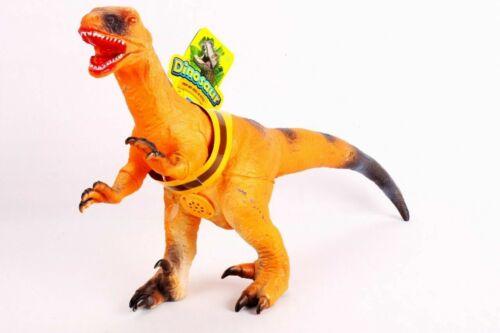 36cm GIGANTE IN GOMMA MORBIDA Velociraptor DINOSAURO Action Figure Giocattolo con Suono Roar