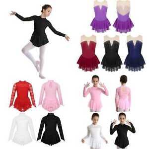 Roller-Skating-Leotard-SKirt-Girls-Ballet-Latin-Tutu-Dress-Performance-Costumes