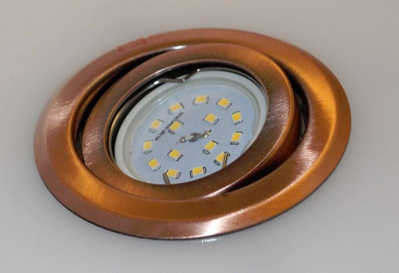 5 x Led Einbauspot Kupfer Spot Einbau 30mm 3 step dimmbar neutralweiss  Flat4159