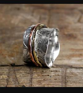 Solid-925-Sterling-Silver-Spinner-Ring-Meditation-Ring-Statement-Ring-Size-sr258