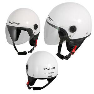 Casco-Jet-Demi-Scooter-Moto-Omologato-ECE-22-Visiera-Antigraffio-Bianco