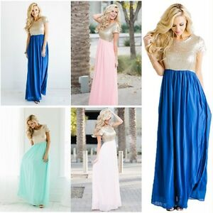 Women Sequin Long Bridesmaid Dresses Plus Size Evening Formal Party Prom Gown 16