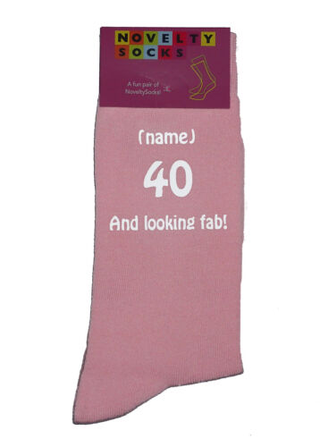 40 And looking fab and Personalised Ladies Pink Socks Great 40th Birthday Gift