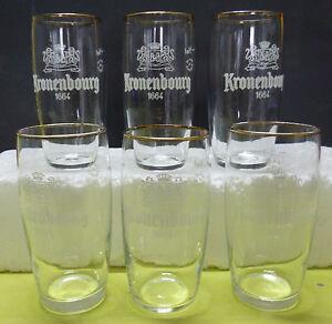 6 anciens Verres a Biere KRONENBOURG vintage