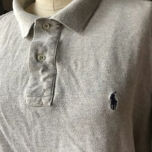 VINTAGE-90-039-s-POLO-by-RALPH-LAUREN-Gray-Collar-XL-X-Large
