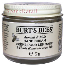 Burt's Bees Organic ALMOND & MILK Hand Cream 57g Intensive Moisturiser Burts