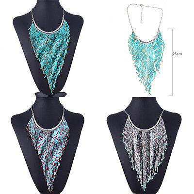 Fashion Jewelry Bohemian Handmade Beads Tassel Chain Statement Choker Necklace