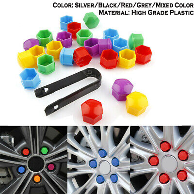 20 x Silver Plastic  Wheel Nuts Caps Bolts Tool 17mm FOR Ford Fiesta Ca Focus..