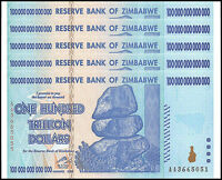 Zimbabwe 100 Trillion Dollar Banknote X 5 PCS, 2008, AA Series, NEW
