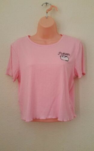 Ladies Primark Pusheen Cat Pink Summer Holiday Cropped Top T-Shirt Womens BNWT