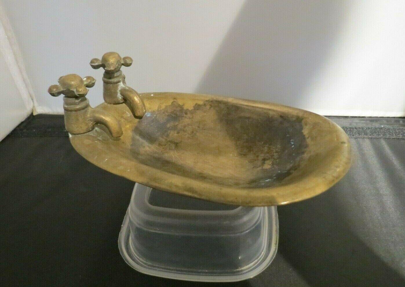 Vintage Brass Bath Tub With Taps Soap Dish Ornament