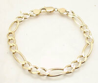 7.6mm Solid Mens Figaro Chain Bracelet Real 14K Yellow Gold 15.5gr GREAT GIFT