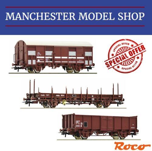 Roco HO 1:87 3-piece set Open stake /& box wagon/'s SNCF Era III//IV NEW UNBOXED