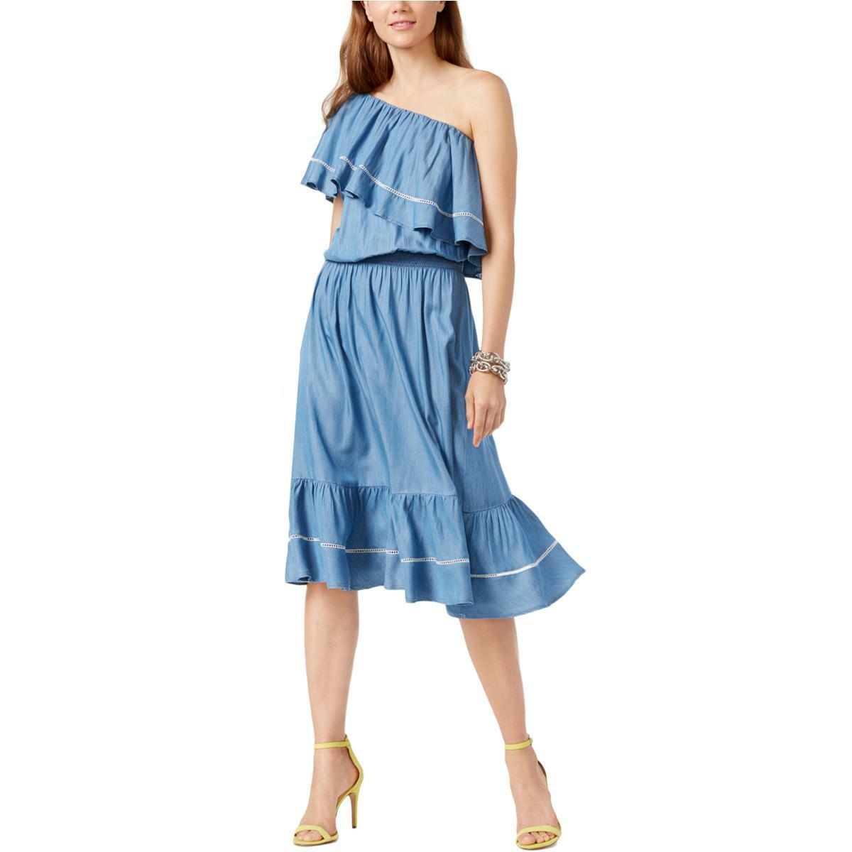 INC Womens Blue Denim One Shoulder Summer Casual Dress XL BHFO 9789