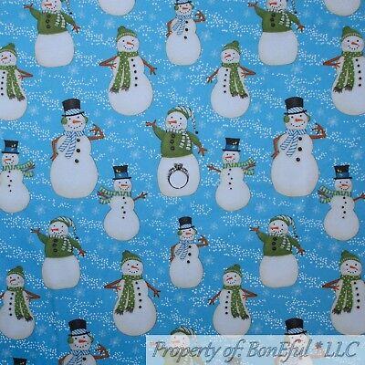 BonEful Fabric FQ Cotton Quilt Blue B/&W VTG Black White Penguin Snowflake Stripe