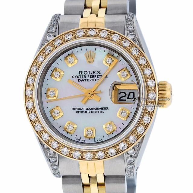 Rolex Women's Datejust Watch Steel & 18K Yellow Gold MOP Diamond Dial and Bezel