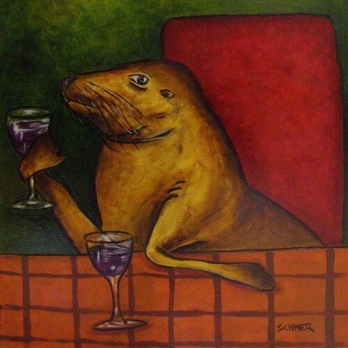 sea lion at a wine bar ceramic coaster animal art tile