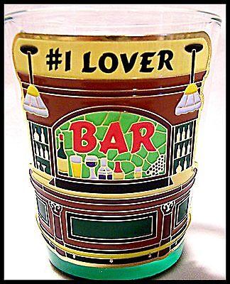 Shot Glass #1 Lover Saying New Barware Bartender Cocktail Recipe Mix Saloon Inn