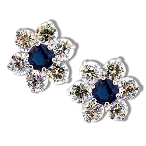 FLOWER WHITE//BLUE SAPPHIRE SCREW BACK EARRINGS 14K YELLOW OR WHITE GOLD