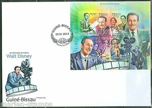 GUINEA BISSAU 2013 100th ANNIVERSARY WALT DISNEY SHEET IMPERFORATE FDC