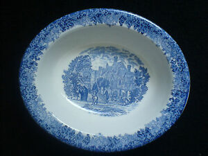 WEDGWOOD-ROMANTIC-ENGLAND-WARWICK-Queen-039-s-Ware-Blue-White-Oval-Dish-10-inch
