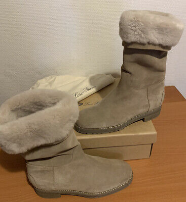 Loro Piana Boots Beige Suede Shearling Eu 38 Fae6267 Suede Boots In Shearling Ebay