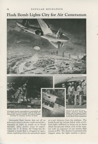 1940 Magazine Article US Army Air Corps Flash Bomb Aerial Photography at Night