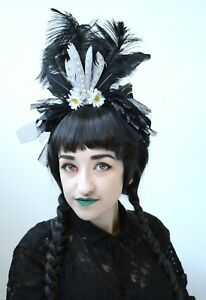 Black-Halloween-Crown-Shredded-Fascinator-Feather-Headband-Headdress