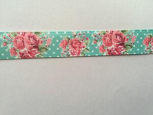 "Grosgrain Floral Flower Roses Colourful Ribbon 7//8/"" 22mm"