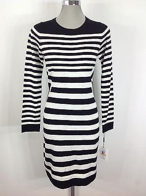 Calvin Klein NEW Black Eggshell Striped long sleeves Sweaterdress Size S M L XL