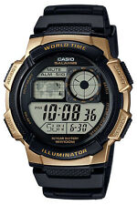 Casio AE1000W-1A3 Men's Black Resin Band 5 Alarm Chronograph World Time Watch