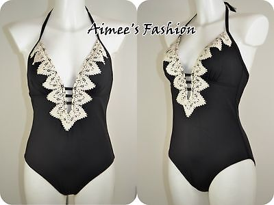 ADDED TUMMY CONTROL SWIMMING COSTUME 461 NEXT BLACK LACE PLUNGE SWIMSUIT