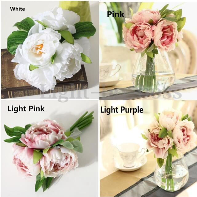 1 Bouquet 5/10 Heads Artificial Peony Silk Flowers Hydrangea Wedding Party Decor