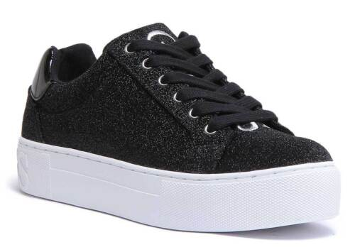 Guess Flmea4Fam12 Meryla Womens Synthetic Trainer Black and White UK size 3-8