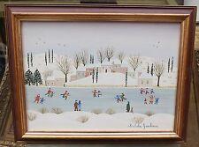 Tableau Huile Paysage Neige Patineurs MICHÈLE GAUBOUR Canada Quebec Art Naïf