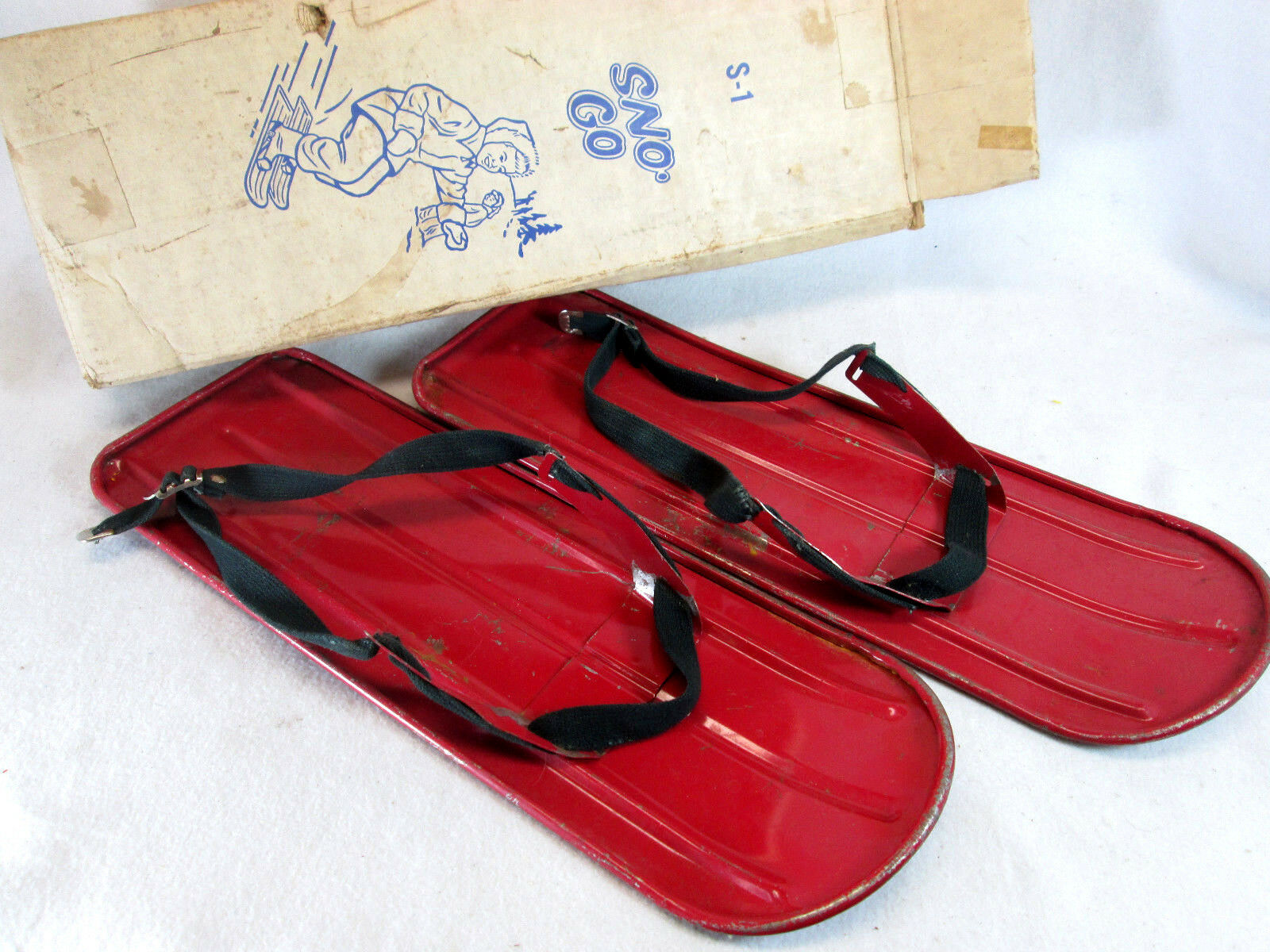 Vintage 1950's Sno-Go metal snow shoes set by Barry Toycraft   outlet factory shop