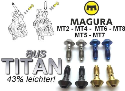 43/% leichter MAGURA 2 BremsLeitungabgangschrauben aus TITAN 4 Farben