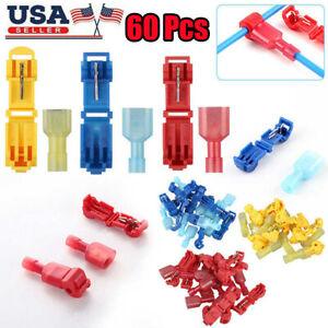 60Pcs-22-10-AWG-T-Tap-Wire-Terminal-Cable-Connectors-Kit-Car-Quick-Splice-Crimp