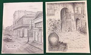 Archie-C-Boyd-Signed-New-Orleans-Prints-Brulator-Courtyard-Bourbon-Street-NOLA