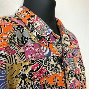 Vintage-Camp-Shirt-El-Corte-Ingles-Block-Print-Floral-Insects-Abstract-Men-039-s-L