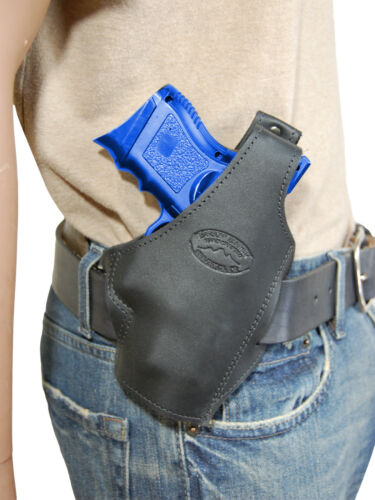New Barsony Black Leather Pancake Gun Holster for CZ EAA Compact 9mm 40 45