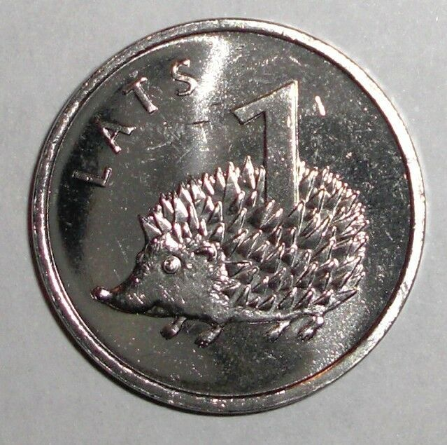 2012 Latvia 1 lats, Hedgehog, animal wildlife coin