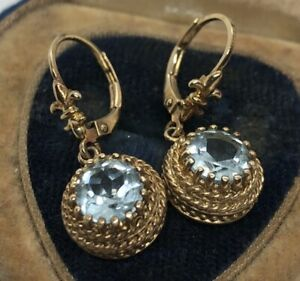 Ross-Simons-Sterling-Silver-Earrings-925-Vermeil-Blue-Topaz-Drop-Fleur-De-Lis