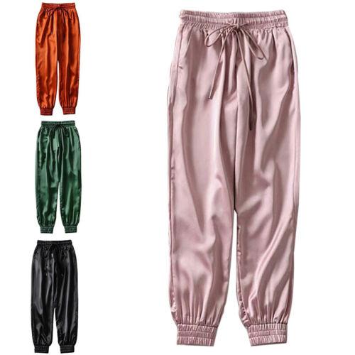 Women Harajuku Joggers UK Pants BF  Ribbon Glossy Sport Trousers
