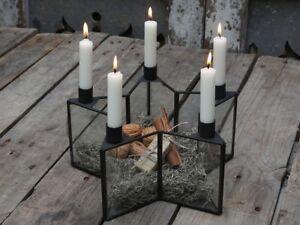 Chic-Antique-Kerzenstaender-Stern-schwarz-Kerzenhalter-Glas-Metall-Advent
