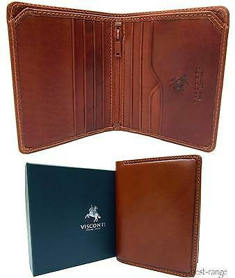 Small 8 Cards Wallet Real Leather Tan Visconti New in Gif Box VCN17
